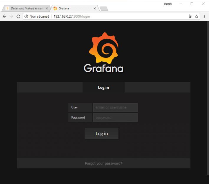 Page Login de Grafana.