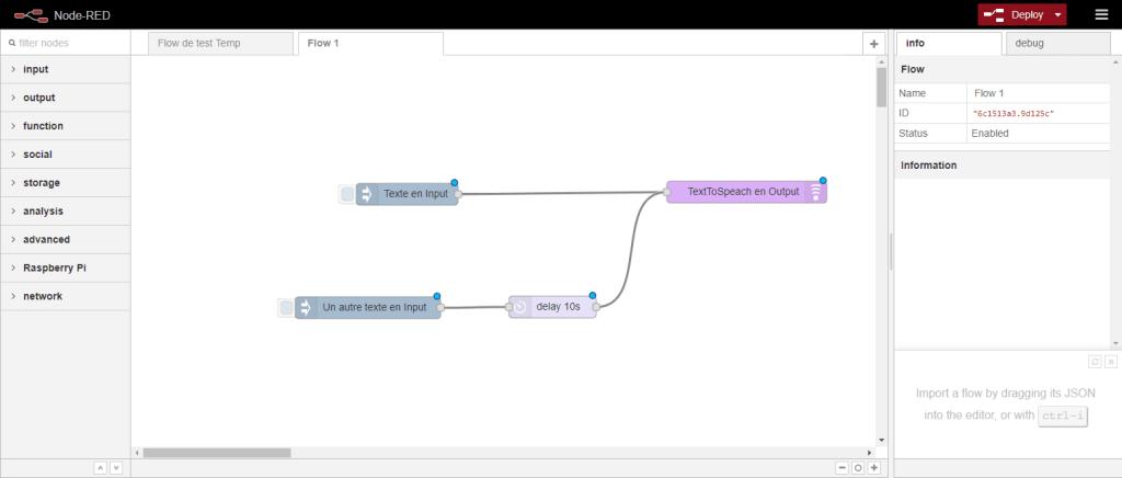 L'interface de Node-RED. A gauche, les noeuds disponibles. Au centre, les flux de données. A droite, menu de configuration ou debug.