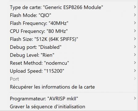 Configuration IDE Arduino pour programmation ESP12 via socket
