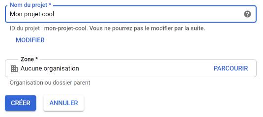 Créez votre projet sur la console Google Cloud