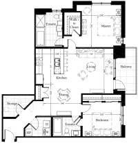Luxury Condos Edmonton | 2 Bedroom New Condo Floor Plan