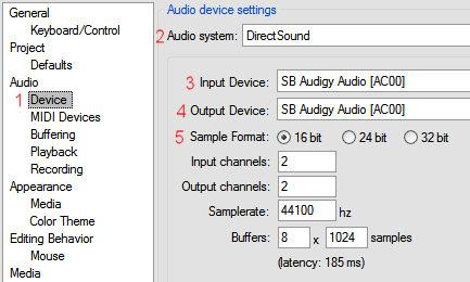 REAPER soundcard configuration