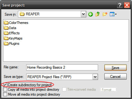 reaper-save project dialog