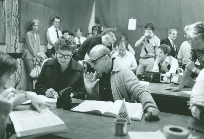 Sir Georg Solti and Margaret Hillis listen to Fidelio playbacks. Credit: http://csoarchives.wordpress.com