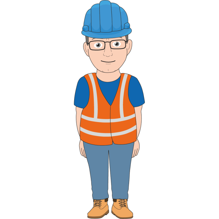 Brian wearing a high visibility vest, a hard hat and glasses
