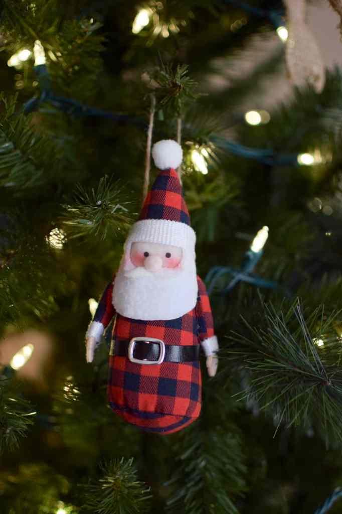 Buffalo plaid santa ornament