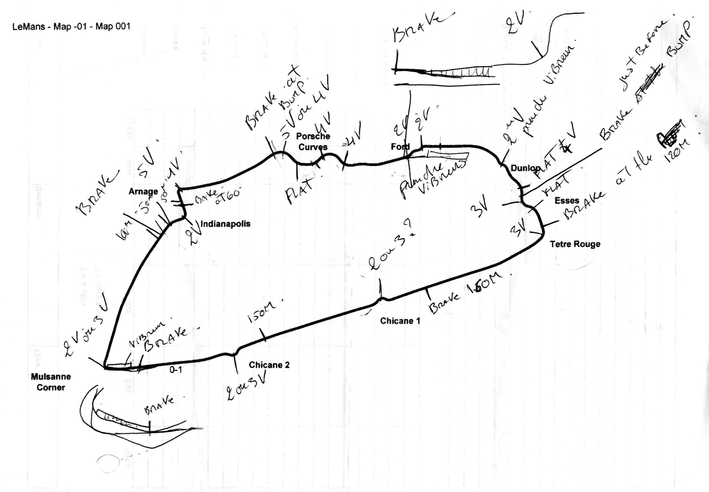 piantina con modifiche a 'mano' del circuito di Le Mans