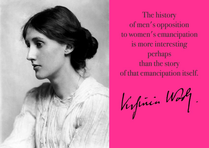 "Citat af Virginia Woolf ""The history of men's opposition to women's emancipation is more interesting perhaps than the story of that emancipation itself."" Originalfotos: commons.wikimedia.org. Citatillustration: Maria Busch"
