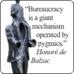 "Citat af Honoré de Balzac: ""Bureaucracy is a giant mechanism operated by pygmies."" Originalfoto: pixabay.com. Citatillustration: Maria Busch"