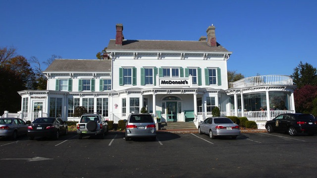 White Colonial Mansion McDonald's in New Hyde Park, New York, USA