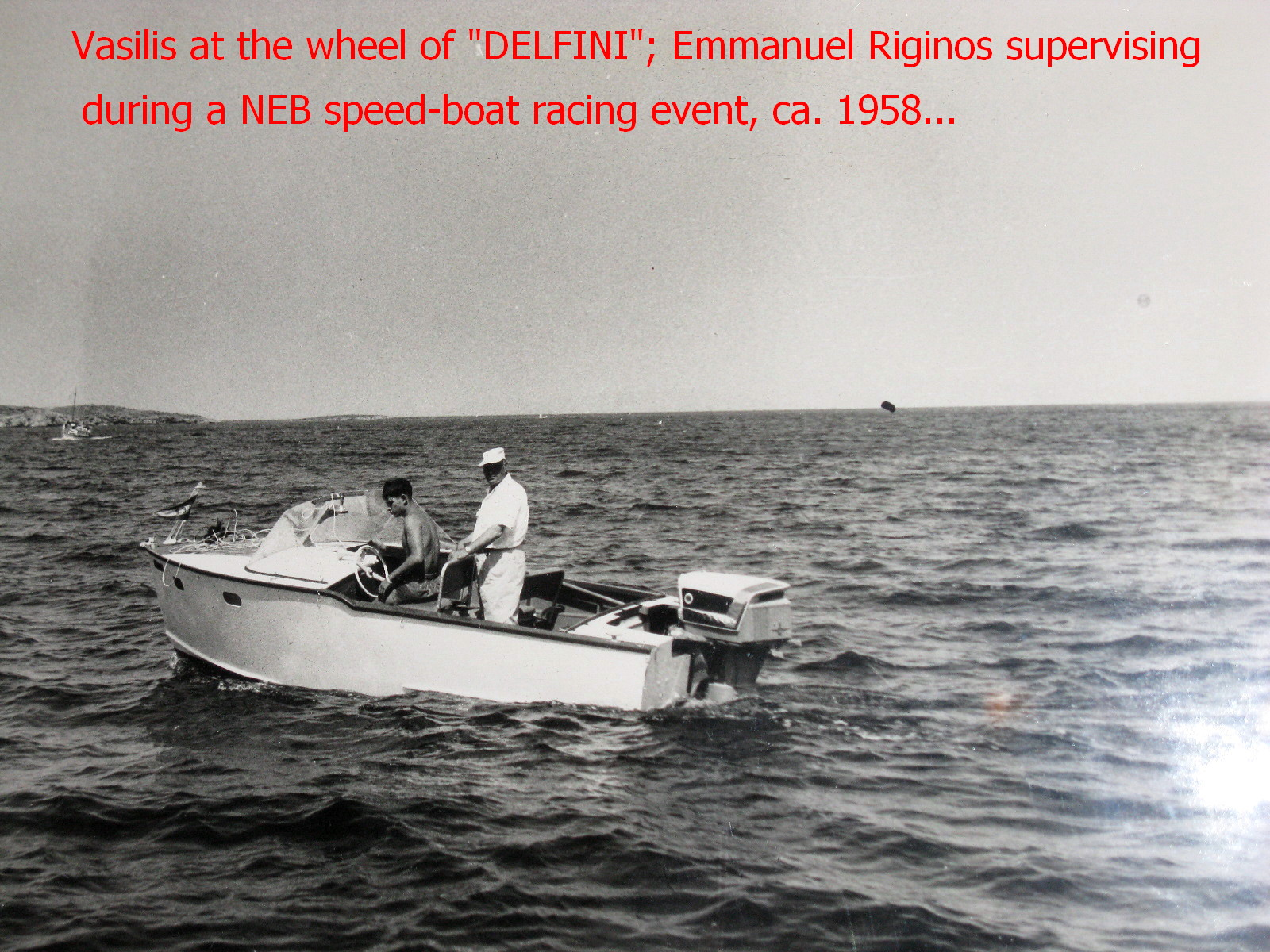 """DELFINI, a 16 ft. Chris-Craft made of marine plywood. Here powered by the legendary Evinrude 50 hp """"Selectric shift"""". A complicated outboard motor breaking down often."""