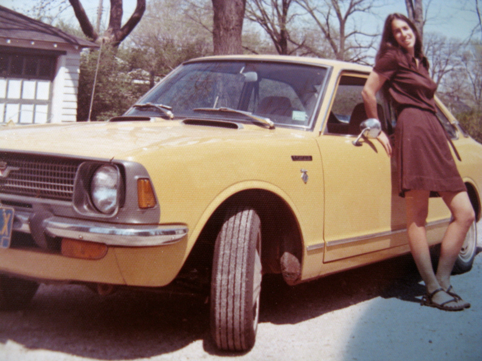Suzan Deaner and her mother's Toyota Corolla, June 73.