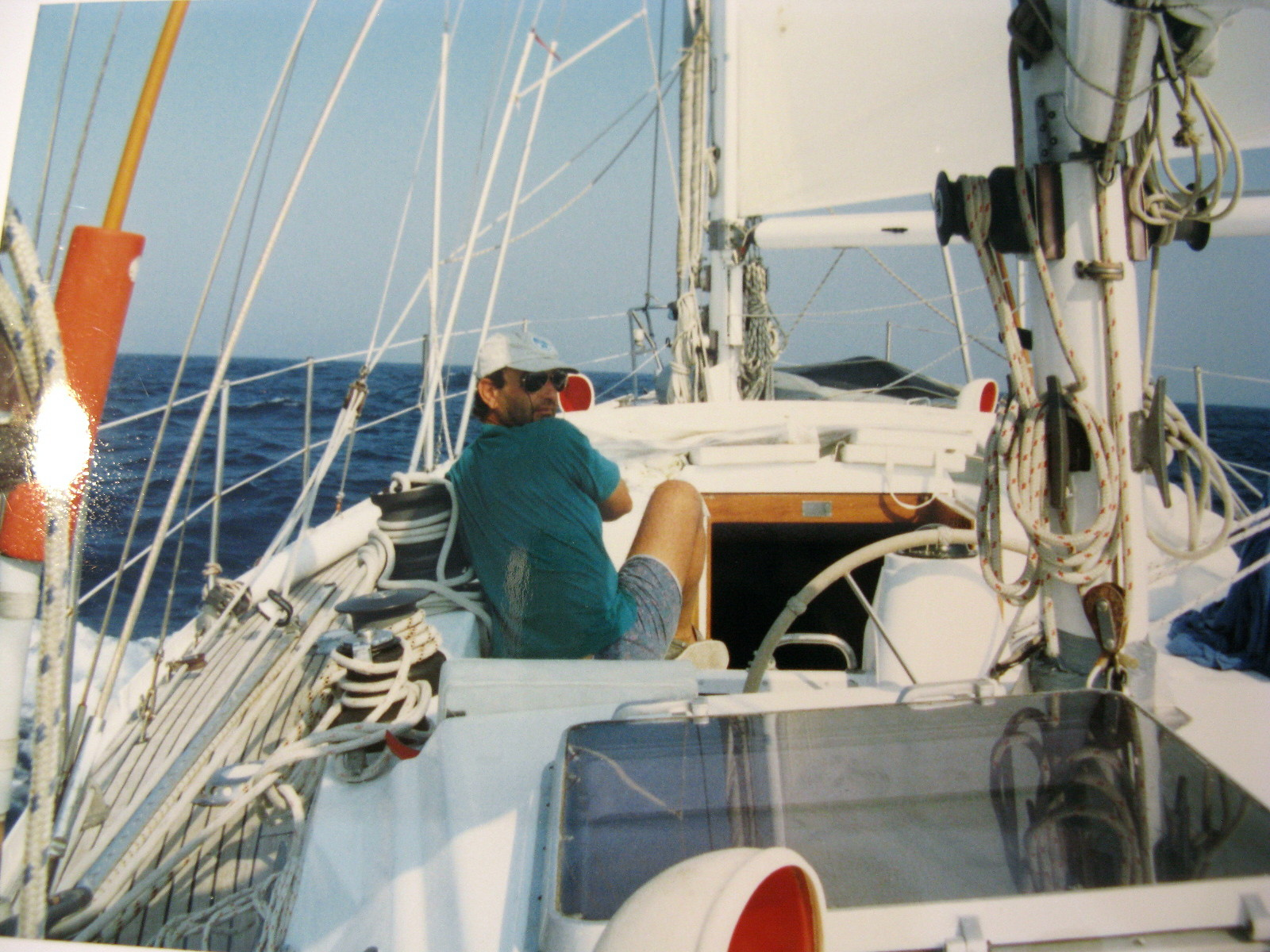"""""""S/Y Sunny"""" offered to us many sunny days, sailing both on the Aegian and Ionian Seas. Co-owner Spilio looks back as the obedient autopilot """"Sklavos"""" (the slave) maintains us on course."""