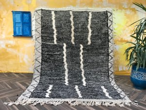 Moroccan rug 6x8, Fabulous Beni ourain Morocco rug, Hand Knotted Oriental Wool carpet, Bohemian carpets, Living room Berber rug