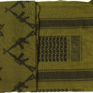 Crossed Rifle Shemagh Scarf in OD/Black