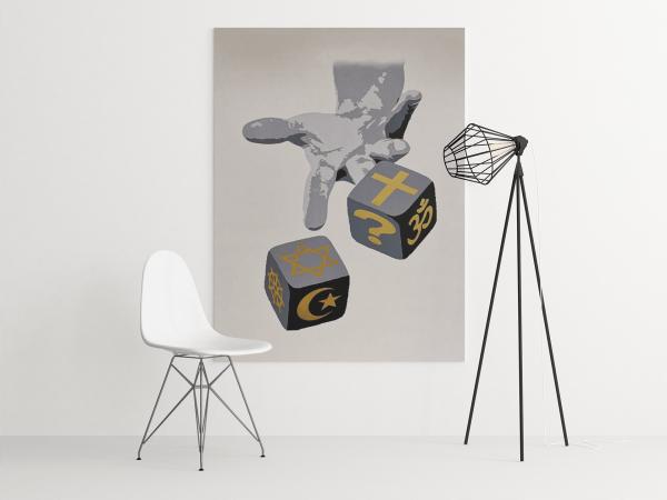 Bildet viser kunstverket Eternal Gamble hengende på vegg