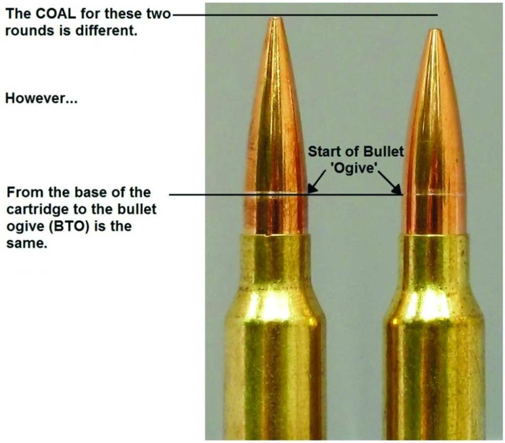 medium resolution of two different bullet shapes seated to the same cbto length but different coal note the shiny scratches on the bullets made by the comparator tool which