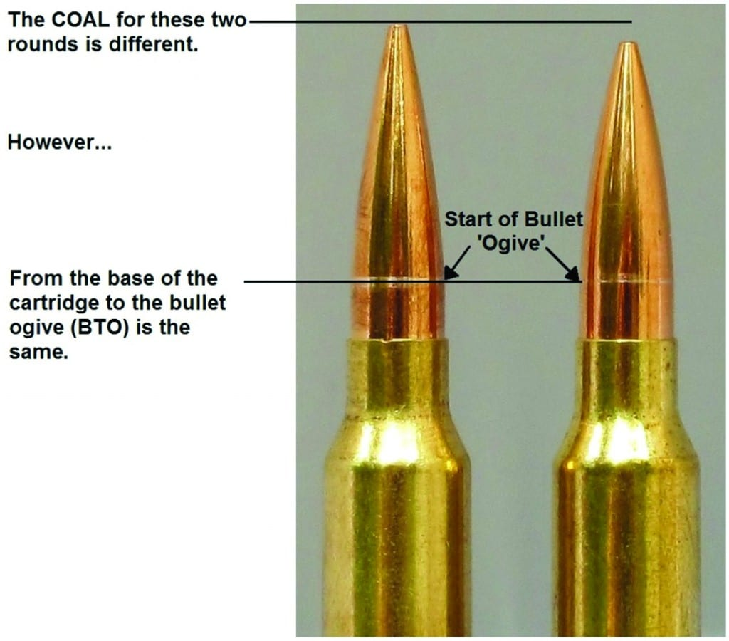 hight resolution of two different bullet shapes seated to the same cbto length but different coal note the shiny scratches on the bullets made by the comparator tool which