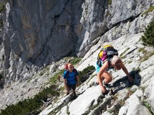 Erste Kletterpassage am Schönen Fleck.