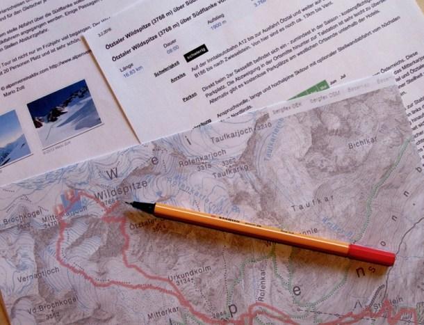 Vor eine neuen Tour sollten unbedingt die Tourendaten und die Karte studiert werden.