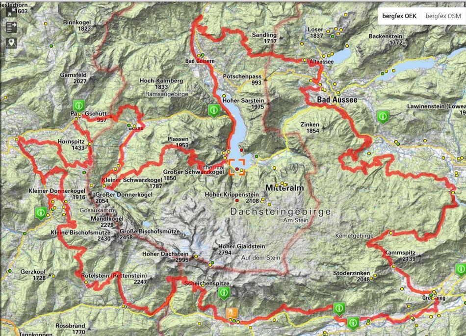 Dachstein-Umrundung - Dachsteinrunde_Karte