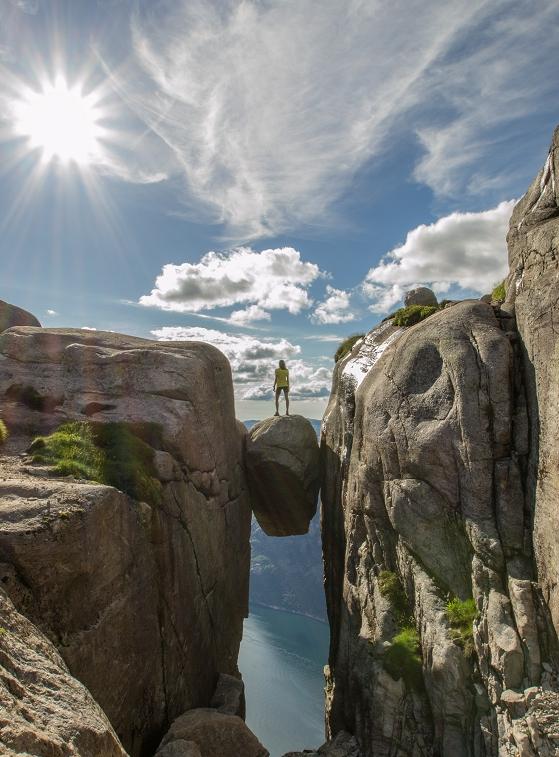 Wandern Norwegen Kjeragbolten.