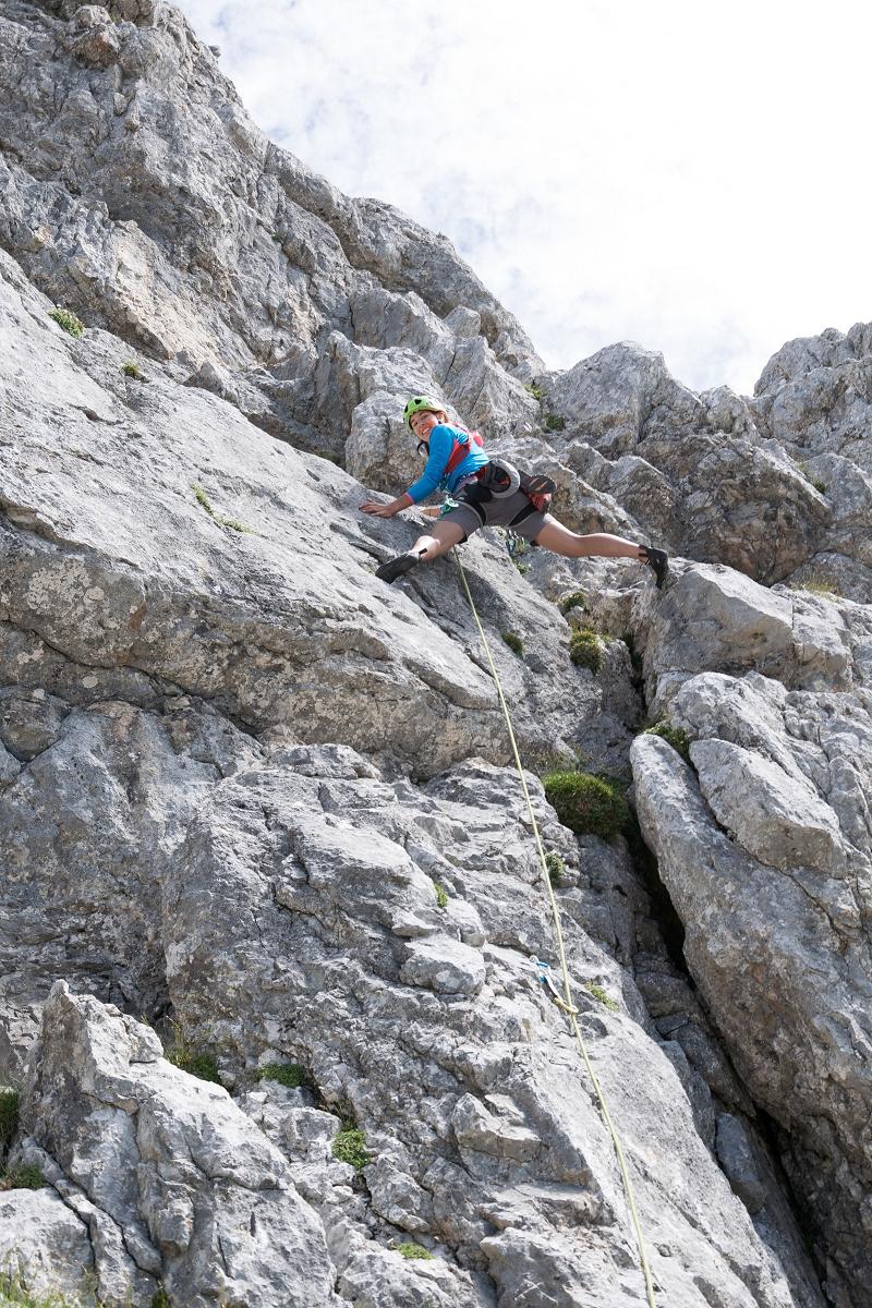Klettern am Buchstein Südgrat im Gesäuse mit direktem Ausstieg.