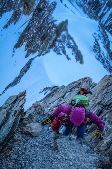 Kurze Kletterpassage.