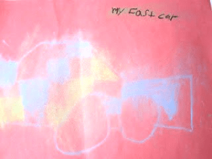 kids drawing chalk on red my fast car