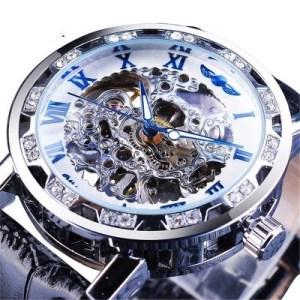 Men Fashion Watch rhinestone hollow manual mechanical movement
