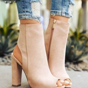 Woman Ankle Boots Faux Suede Leather Casual Open Peep Toe High Heels Zipper Autumn Winter Spring Fashion Square Shoes