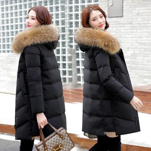 Woman coats genuine white duck down mid-length hooded down jacket
