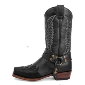 Woman Texan boots genuine leather heeled mid tube squared toe western style knight boots