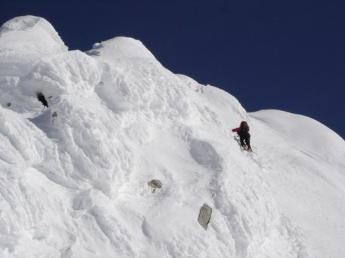 Beim Abstieg knapp unter dem Gipfel