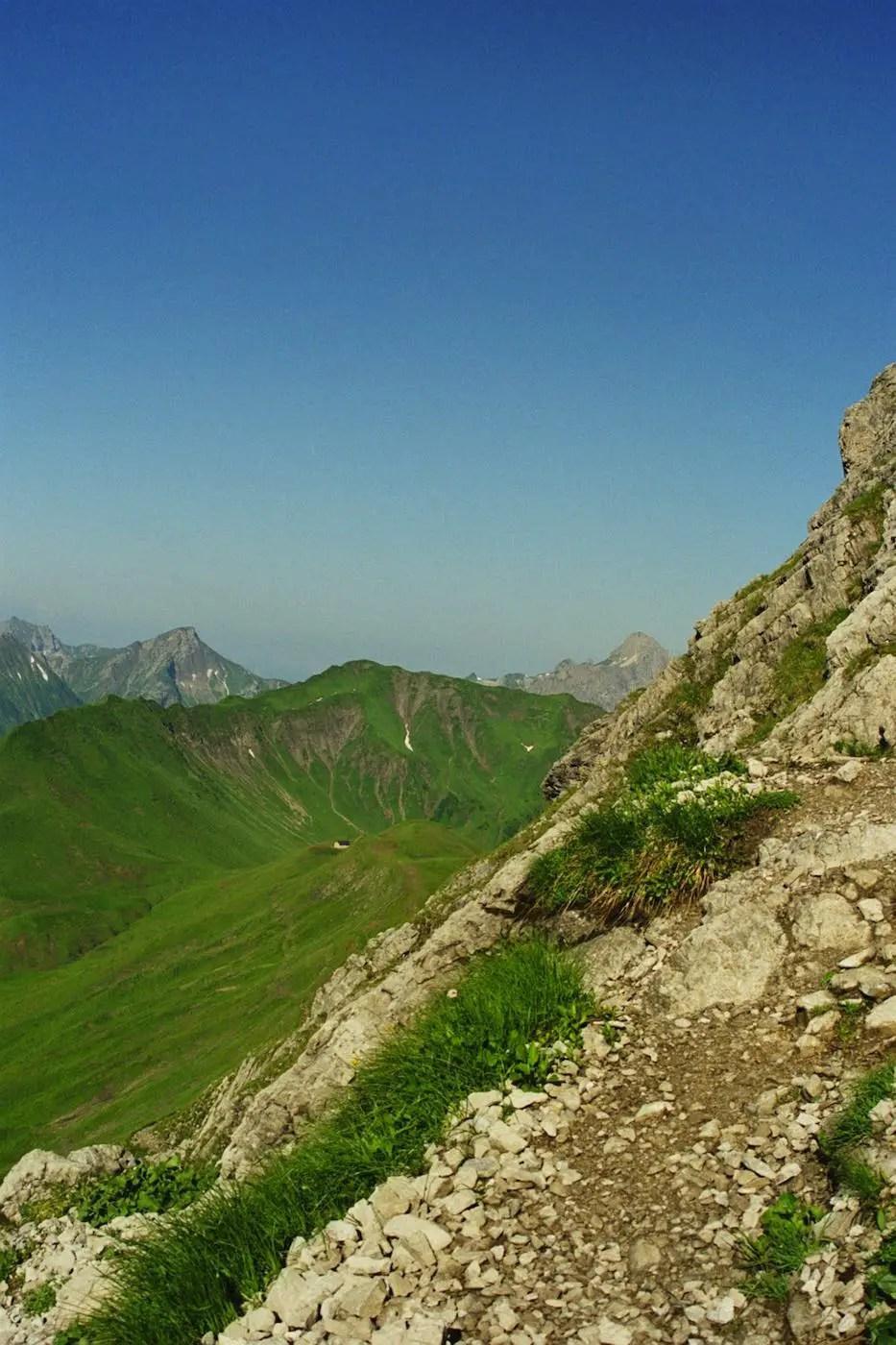 Einstieg zur Gipfelrinne am Widderstein