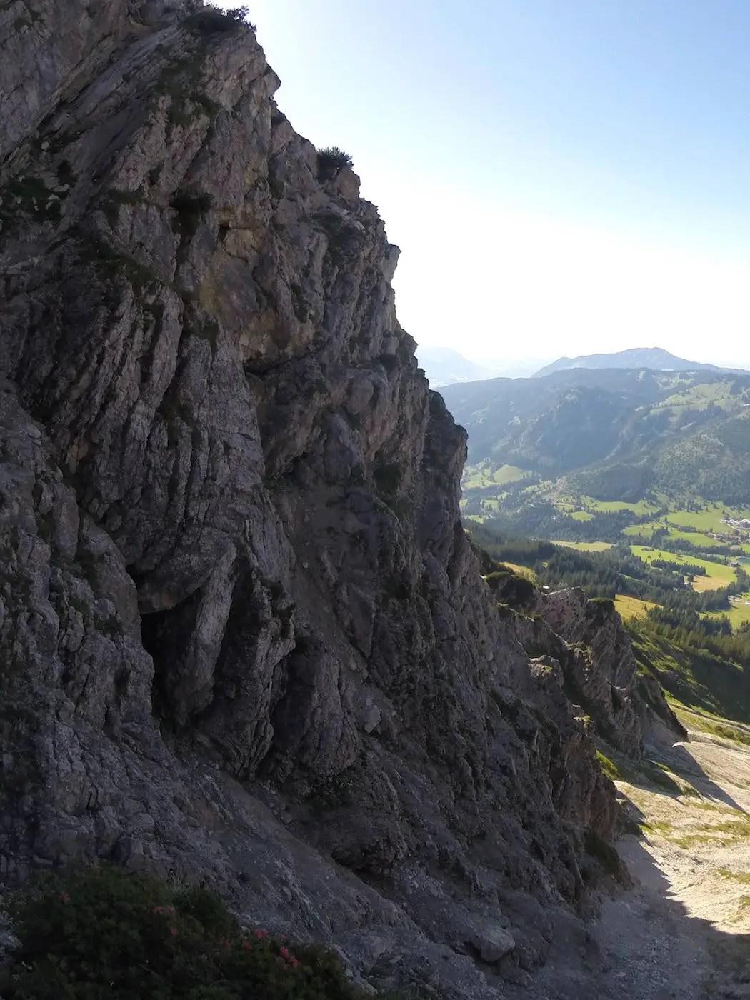 Blick zurück zum Einstieg des Salewa Klettersteig