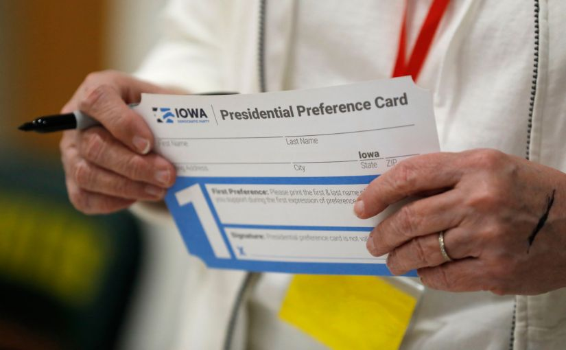 A presidential preference card from the Iowa Caucuses