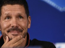 Atletico Madrid's Argentinian head coach Diego Simeone gestures during a press conference at the TT Arena Stadium in Istanbul on September 14, 2015 on the eve of the Champions League football match between Galatasaray and Atletico Madrid. AFP PHOTO / OZAN KOSE