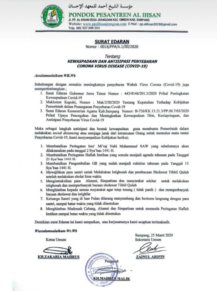 Surat Edaran yang Dikeluarkan Ponpes Al-Ihsan Jrangoan, Omben, Sampang