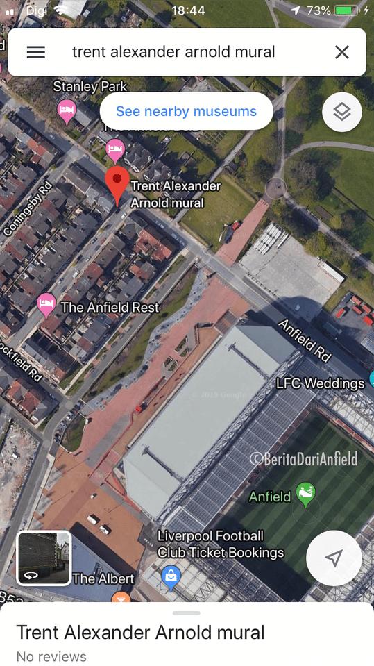 Google map ke Mural Trent Alexander-Arnold di Anfield
