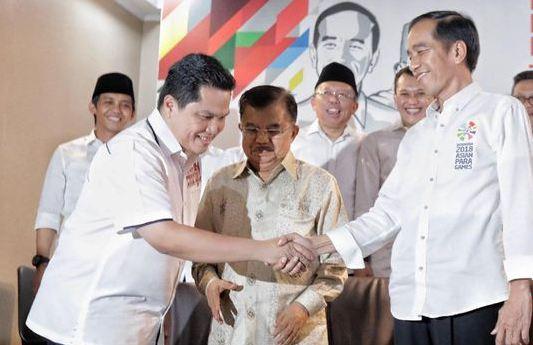 Jokowi saat umumkan Erick Thohir jadi Ketua Timses.