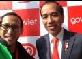 Presiden Jokowi dan Nadiem Makarim di Vietnam.