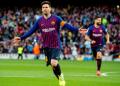 Selebrasi Messi usai cetak gol ke gawang Espanyol.