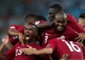 Selebrasi para pemain Qatar usai tahan imbang 2-2 Paraguay.
