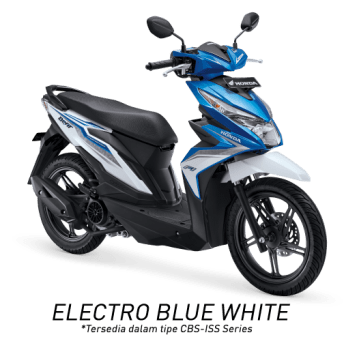 All New Honda BeAT eSP 2017 Warna Biru Putih tipe CBS-ISS