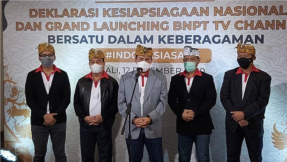Kepala BNPT, Komjen Pol. Dr. Boy Rafli Amar, M.H., saat konferensi pers Deklarasi Kesiapsiagaan Nasional dan Grand Launching BNPT TV Channel, Sabtu 12 Desember 2020 di Badung, Bali. (Dok. Istimewa)
