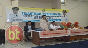 Sekcam Larangan Drs. Sumardi saat memberikan sambutan. (Foto: Putra)