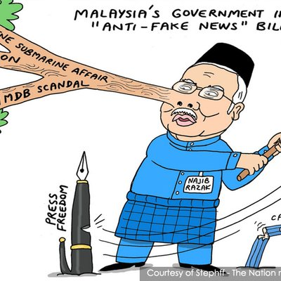 Image result for Thai Cartoon of Lying Najib Razak