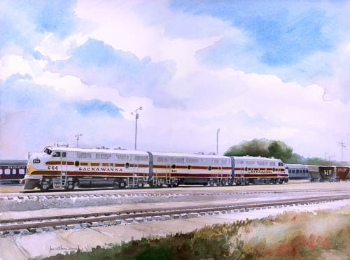 """Lackawanna Railroad F3A #664, F3B #664B & F3A #663 at Spencer, North Carolina"" by James Mann"