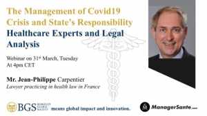 Jean Philippe- one of the panelists of Webinar 1 on COVID 19 organised by BGS